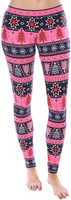 Pink And Black Holiday Leggings