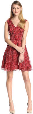 French Connection Red Wildcat Fit And Flare Dress