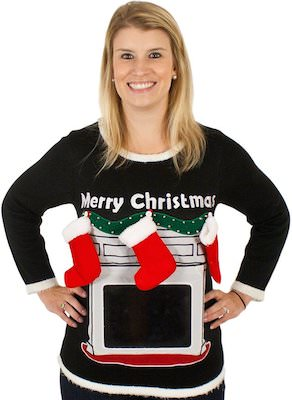 Women's Fireplace Ugly Christmas Sweater