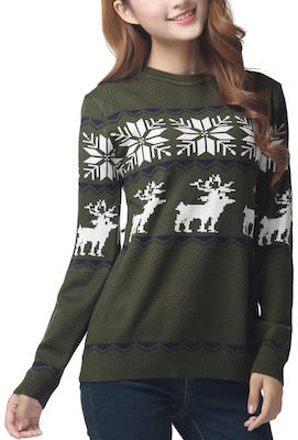 Women's Green Reindeer and Snowflakes Christmas Sweater