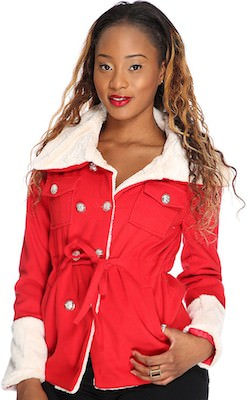 Women's Red Cozy Stylish Winter Jacket