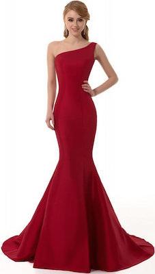 women's Burgundy Color One Shoulder Evening Dress