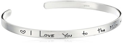 I Love You To The Moon And Back Silver Cuff Bracelet