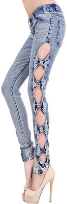 girls Bow Cutout Jeans Style Leggings