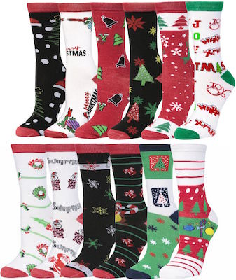 Women's Christmas Socks 12 Assorted Pairs