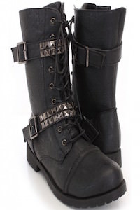 Black Faux Leather Studded Combat Boots