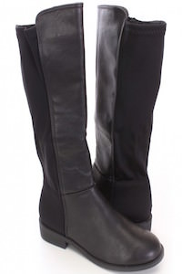 Black Mid Calf Riding Boots Faux Leather