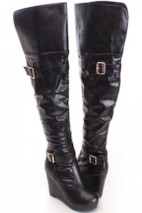 Black Print Thigh High Wedge Boots Faux Leather
