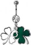 St Patrick's Day Shamrock Belly Ring