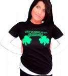 St Patricks Day Stop Staring At My Shamrocks Women's T-Shirt