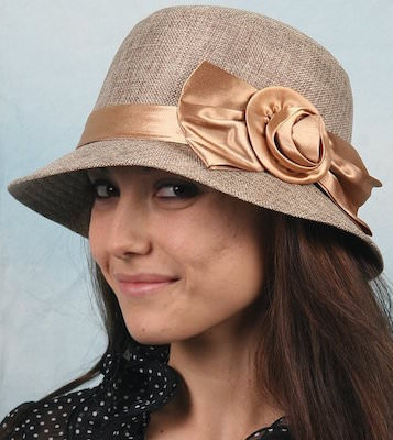 Women's Beige Cloche Hat