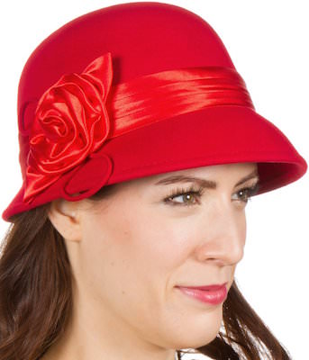 Wool Red Cloche Bucket Hat