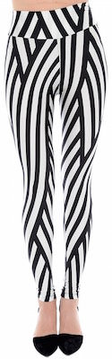 High Waist Black And White Lines Leggings