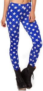 Blue Women's Leggings With White Stars