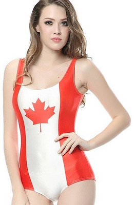 Canadian Flag One Piece Bathing Suit