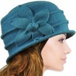 Daisy Flower Wool Cloche Bucket Hat