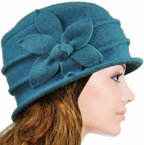 Daisy Flower Wool Cloche Bucket Hat