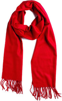 women's Red Cashmere Feel Winter Scarf