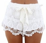 Women's White Shorts With Lace