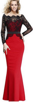 Red and Black Lace Prom Dress