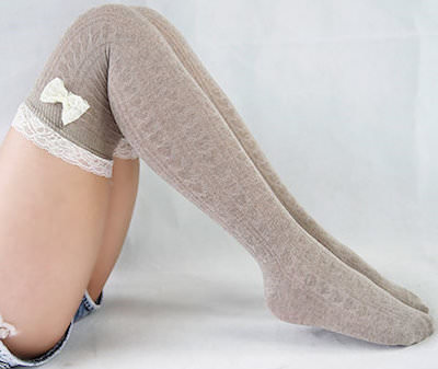 Over The Knee High Socks With Cute Bow and lace top