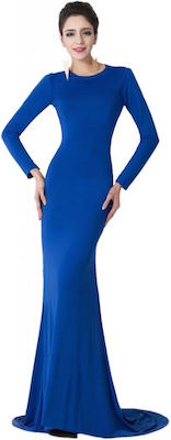 Royal Blue Long Evening Dress With Sexy Back Design