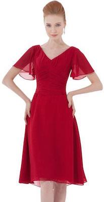 Burgundy Chiffon Style Dress