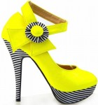 Yellow Pump with Black and White Stripes