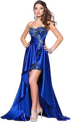 Blue Long And Short Evening Dress