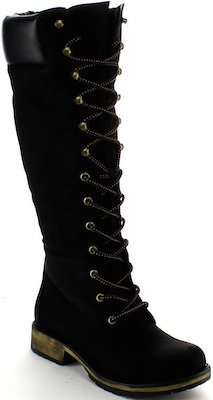 Black knee hight boots with laces