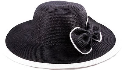 Wide Brim Straw Hat With Bow