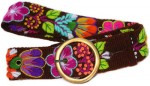Brown Women's Belt with Colorful Flowers