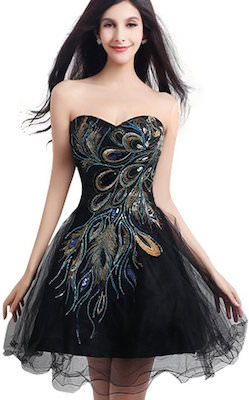 Black Peacock Prom Dress