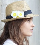 Women's Straw Fedora Hat With Flowers