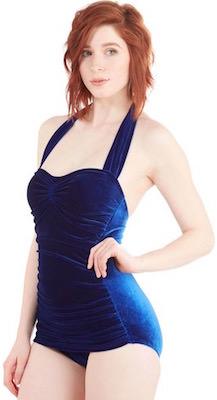 Women's Velvet Royal Blue One Piece Bathing Suit