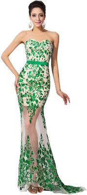 Mermaid style dress in white with green embroidery