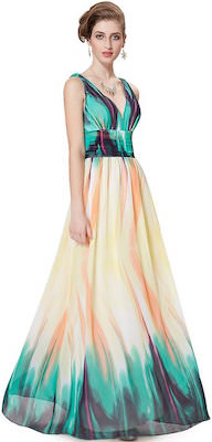 Double V Green Flare Prom Dress