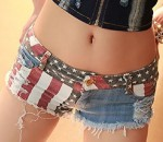 Denim Sexy Worn US Flag Shorts