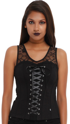 Women's Black Lace Up Corset Top