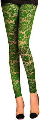 women's Green Floral Lace Leggings