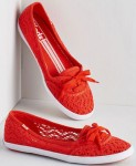 Women's Bright Red Crochet Flats