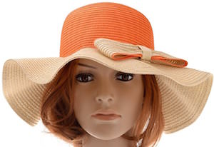 Large Brim Straw Beach Hat With Bow