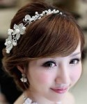 Silver Tone Flower And Pearls Headband
