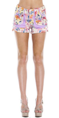 Women's Flowers On Lavender Shorts