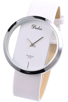 Elegant White Women's Watch With Transparent Face