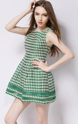 Short Green Dress With Gold Crowns