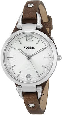 Fossil Women's Watch With Brown Leather Strap