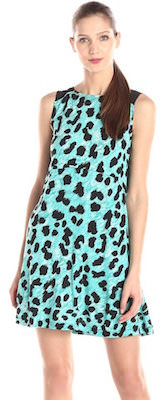 French Connection Women's Mint Green Leopard Print Dress