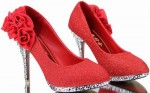 Women's Shiny Red Flower Pumps