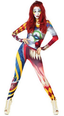 Women's Freaky Clown Bodysuit Costume